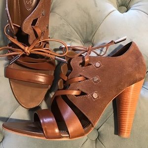 TOD'S brown suede stringata lace up booties heels